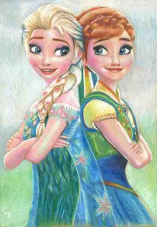Anna and Elsa from Disney's Frozen Fever